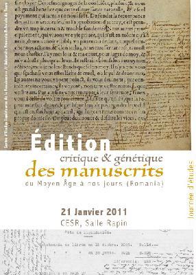 Édition critique et g&eacuten&eacutetique des manuscrits du Moyen Age a nos jours