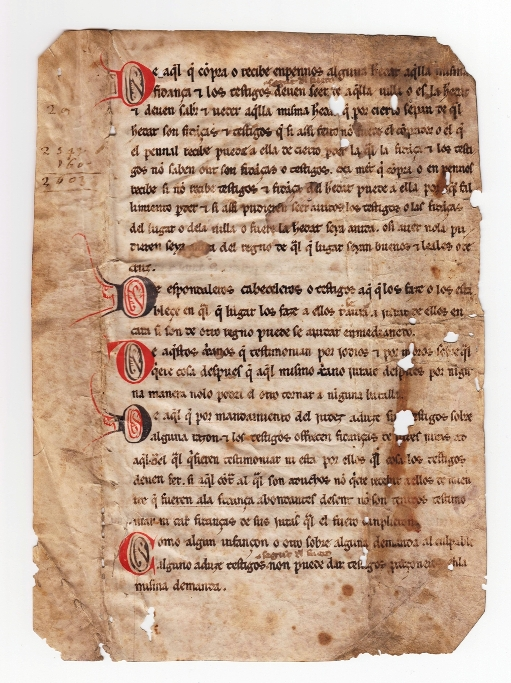 Donan a la BNE un manuscrito del siglo XIII con una parte del texto de los Fueros de Arag&oacuten